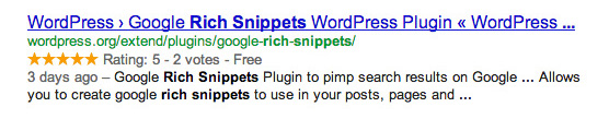 Search Result with snippet for rating