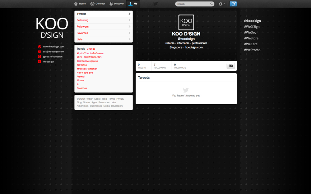 KOO D'SIGN twitter profile page