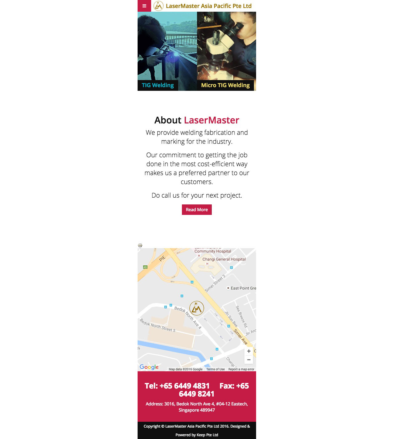 Lasermaster website homepage on mobile